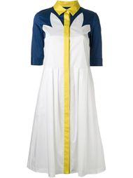 contrast panel pleated dress Jil Sander Navy