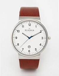 Часы с коричневым кожаным ремешком Skagen SKW6082 - Коричневый