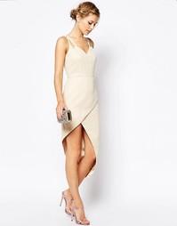 Платье миди с запахом спереди VLabel London Lyle - Кремовый