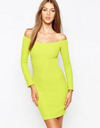 Облегающее платье с длинными рукавами Missguided - Лайм