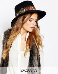 Фетровая шляпа с отделкой пером Catarzi - Синий микс
