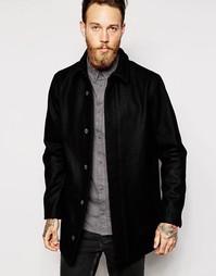 Шерстяное пальто со скрытой застежкой Dr Denim Tosh - Черный