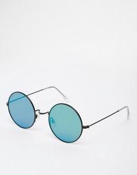 Солнцезащитные очки в круглой металлической оправе с плоскими линзами Asos