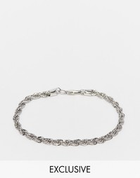 Серебристый браслет-веревочка Chained & Able - Серебряный