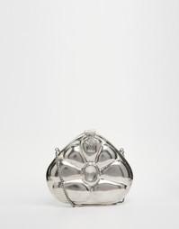 Серебристый клатч с цветочной отделкой From St Xavier - Серебряный