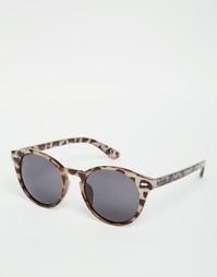 Круглые солнцезащитные очки с бледным черепаховым принтом ASOS