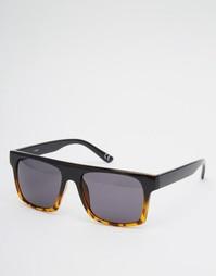 Черные/черепаховые солнцезащитные очки с плоским верхом ASOS - Черный