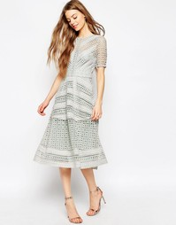 Нарядное кружевное платье миди ASOS Premium - Сиреневый