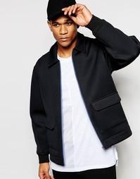 Черная спортивная куртка с накладными карманами ASOS - Черный