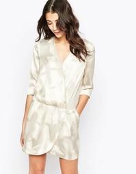 Платье с запахом и принтом гусиная лапка See U Soon - Бежевый