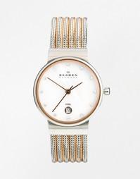 Часы с двухцветным браслетом Skagen Klassik 355SSRS - Серебряный