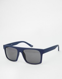 Солнцезащитные очки в прорезиненной синей оправе с плоским верхом ASOS