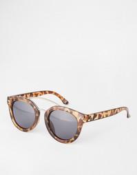 Массивные солнцезащитные очки в круглой черепаховой оправе с розовой п Asos