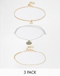 Набор золотистых браслетов-фенечек Pieces Tress - Золотой