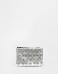 Кошелек для монет с вырезами и молнией ASOS - Серебряный