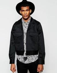 Черная укороченная куртка в стиле милитари ASOS - Черный