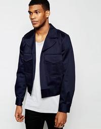 Темно-синяя укороченная куртка в стиле милитари ASOS - Темно-синий