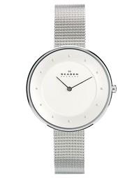 Серебристые часы с узким браслетом Skagen Klassik - Серебряный