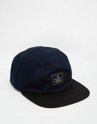 Темно-синяя 5-панельная кепка с черным козырьком ASOS - Темно-синий