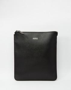 Кожаная сумка для авиаперелетов Hugo Boss Digital Saffiano - Черный