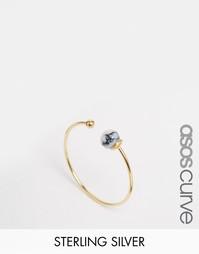 Незамкнутое позолоченное серебряное кольцо с бусинкой ASOS CURVE