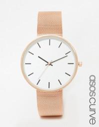 Минималистские часы с большим циферблатом ASOS CURVE - Розовое золото