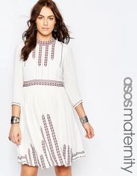 Приталенное платье с вышивкой в стиле фолк ASOS Maternity - Кремовый