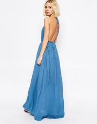 Платье макси с халтером и глубоким вырезом сзади Paisie - Бледно-синий