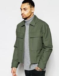 Зеленая укороченная куртка в стиле милитари ASOS - Зеленый