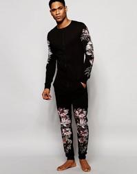 Комбинезон с цветочным принтом в стиле casual ASOS - Черный