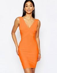 Бандажное платье миди с глубоким декольте WOW Couture - Pop orange