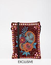 Маленькая сумка через плечо с цветочной вышивкой Reclaimed Vintage