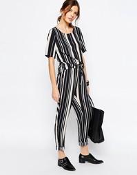 Полосатые повседневные брюки Vila - Черный в полоску