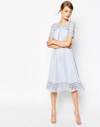 Платье миди с пышной юбкой и кружевными вставками ASOS Premium