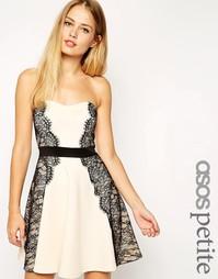 Короткое приталенное платье-бандо ASOS PETITE