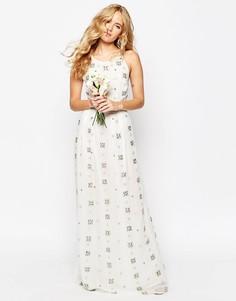 Декорированное платье макси на тонких бретельках ASOS BRIDAL - Белый