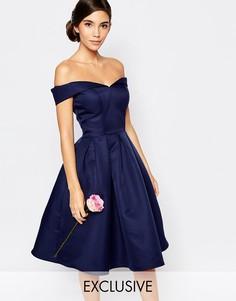 Платье миди для выпускного с пышной юбкой Chi Chi London - Темно-синий