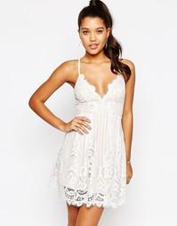 Кружевное платье-сорочка Love Triangle - Белый