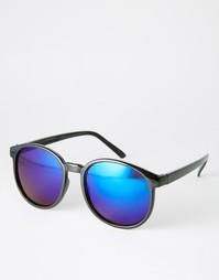 Круглые солнцезащитные очки с синими линзами 7X - Черный