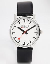 Кварцевые часы на кожаном ремешке Mondaine Evo - Черный