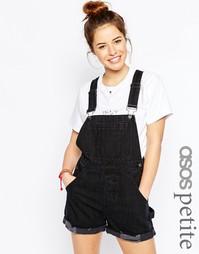 Черный выбеленный джинсовый короткий комбинезон ASOS PETITE - Черный
