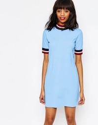 Контрастное полосатое платье Monki - Светло-голубой