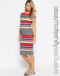 Облегающее платье для беременных в полоску ASOS Maternity