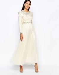 Платье макси с шипами Rare Opulence - Кремовый