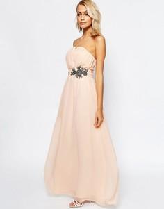 Платье-бандо макси с цветочным принтом и отделкой Little Mistress