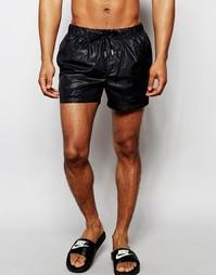 Черные короткие шорты для плавания с мокрым эффектом ASOS - Черный