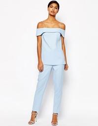 Комбинируемые фактурные строгие брюки ASOS Occasion - Синий