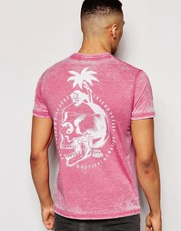 Футболка с принтом черепа на спине Friend or Faux - Розовый