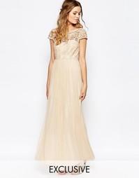 Платье макси с кружевным лифом и пуговицами сзади Vila