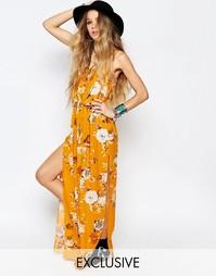 Длинное платье-майка с цветочным принтом Reclaimed Vintage - Желтый